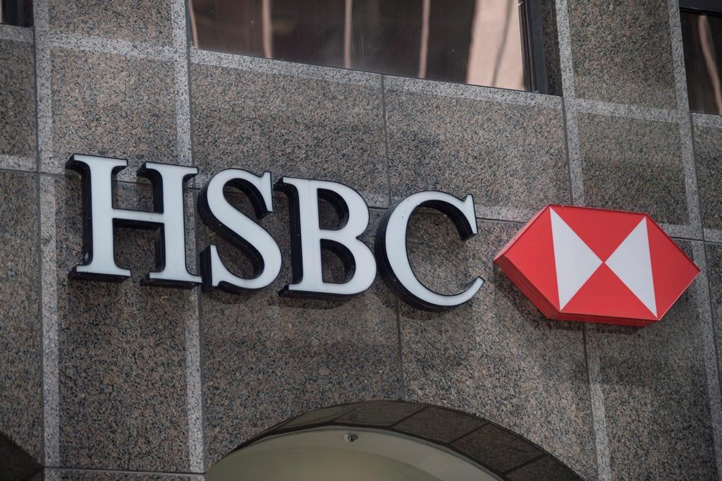 The logo for HSBC Bank Canada is seen on King Street West in Toronto on May 24, 2016. THE CANADIAN PRESS/Eduardo Lima.