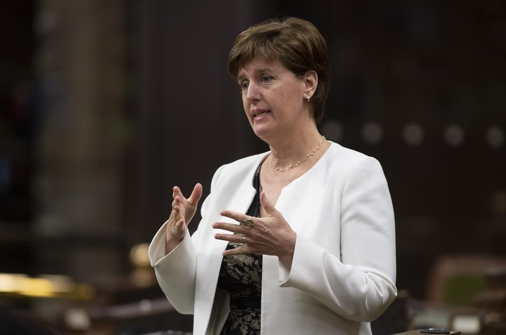 Minister of Agriculture and Agri-Food Minister Marie-Claude Bibeau rises during a sitting of the Special Committee on the COVID-19 Pandemic in the House of Commons, in Ottawa, Wednesday, June 3, 2020. The federal government will not release the data that Agriculture Minister Marie-Claude Bibeau says Ottawa relied on to decide against exempting fuels used in grain dryers from the national price on pollution.