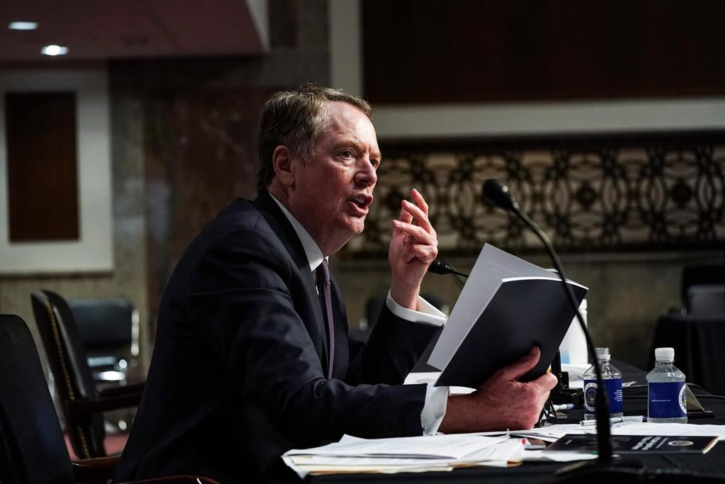 U.S. Trade Representative Robert Lighthizer speaks during a Senate Finance Committee hearing on U.S. trade on Capitol Hill, Wednesday, June 17, 2020, in Washington. If the long-awaited debut of Canada's new trade pact with the United States and Mexico augurs a new dawn in North American relations, Robert Lighthizer sure has a funny way of showing it. THE CANADIAN PRESS/AP, New York Times Anna Moneymaker, Pool.