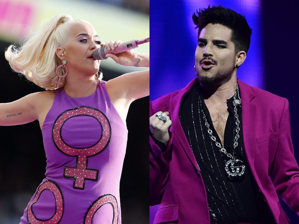 (L-R) Katy Perry and Adam Lambert.