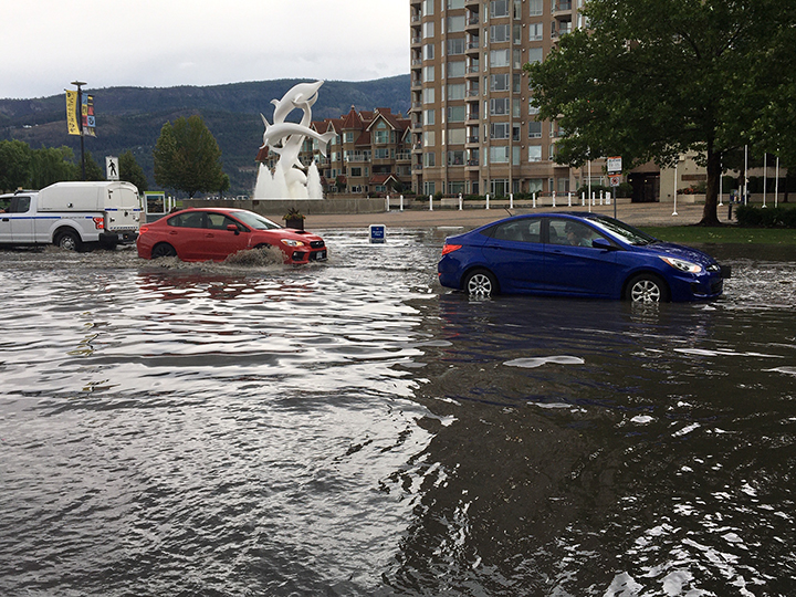 Water Street in downtown Kelowna on Saturday afternoon following a downpour.