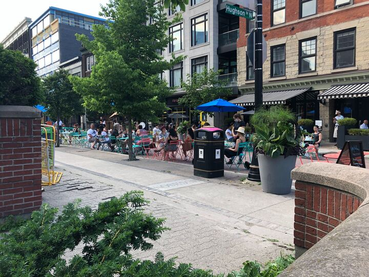 One of Hamilton's most dramatic patio expansions has allowed 10 restaurants to benefit from the closure of a portion of King William St.