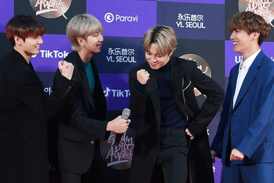 Jungkook, RM, Jimin and J-Hope of BTS arrive at the photo call for the 34th Golden Disc Awards on Jan. 5, 2020 in Seoul, South Korea.