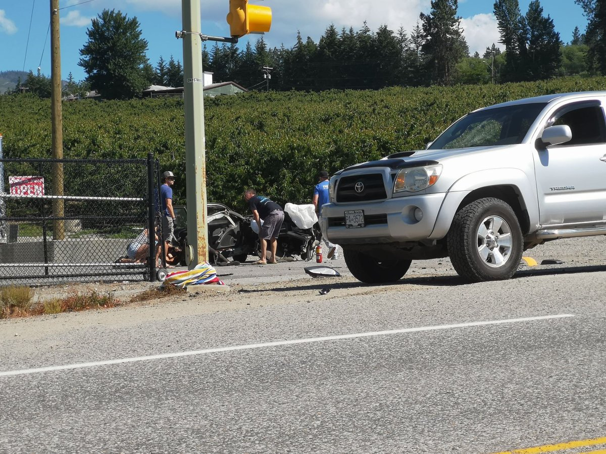 A female driver was rushed to hospital after colliding with a telephone pole on Thursday afternoon on Lakeshore Road near Sun City Cherries.