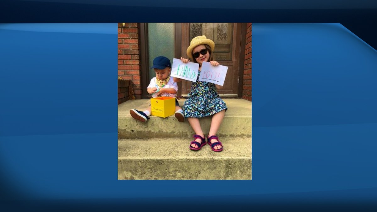 Claire and Adam Andreychuk prepare for their upcoming lemonade stand.
