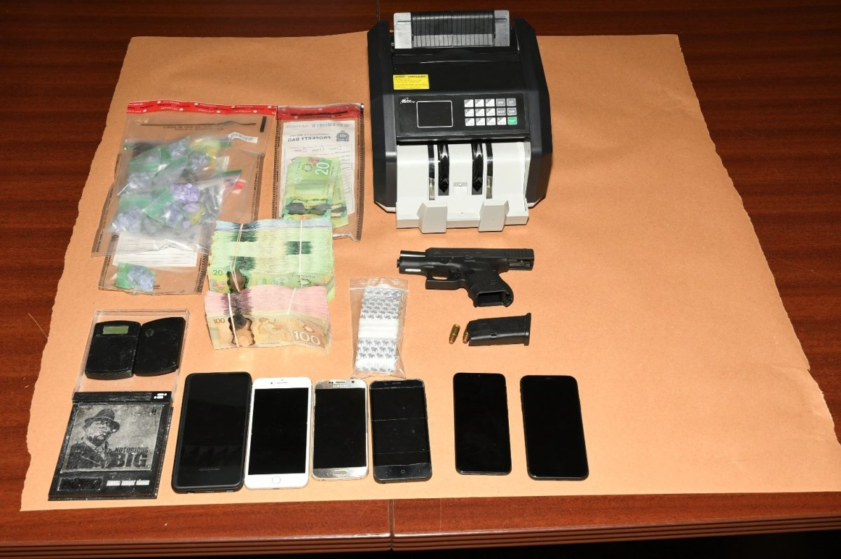 Several items were seized after a home in the 1700 block of Dundas Street, as well as a car, were searched in London, Ont., on June 25, 2020.
