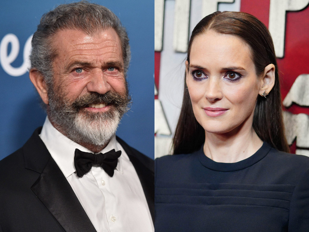 (L-R) Actors Mel Gibson and Winona Ryder.