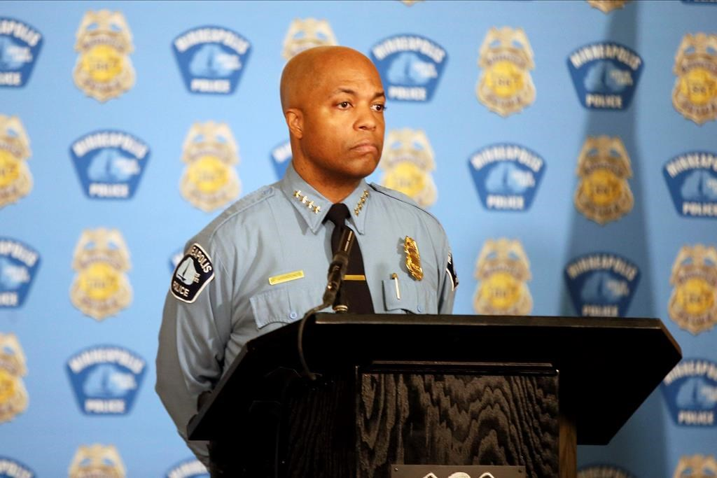 Minneapolis Police Chief Medaria Arradondo listens to a question from the media where he discussed police reforms, Wednesday, June 10, 2020 in Minneapolis.
