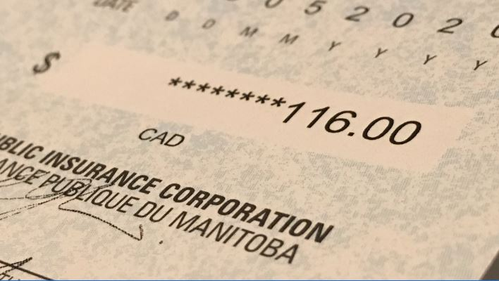 A Manitoba Public Insurance rebate cheque from May 2020.