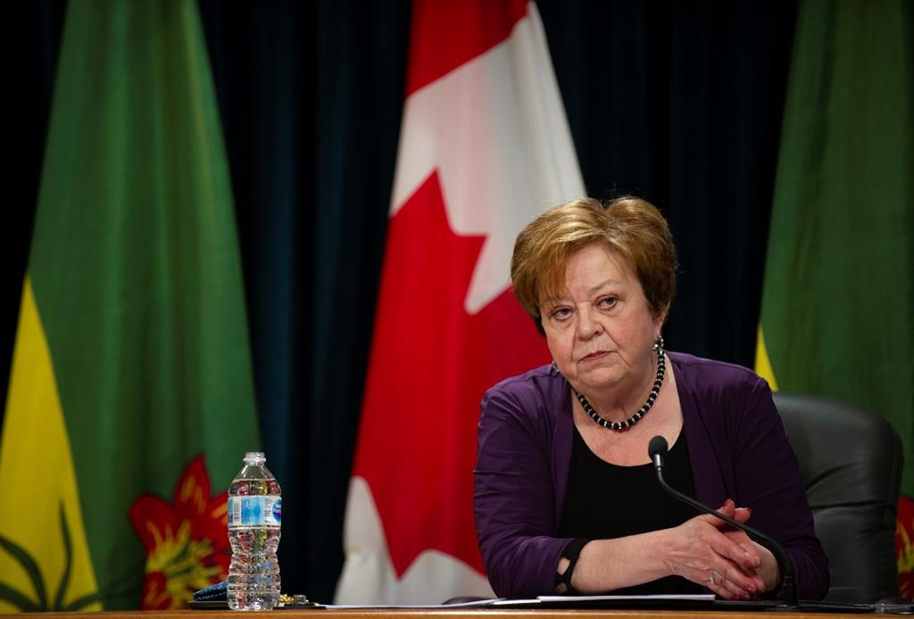 Saskatchewan Finance Minister Donna Harpauer takes questions from reporters before releasing the province's budget at Saskatchewan's Legislative Building in Regina on Monday, June 15, 2020. THE CANADIAN PRESS/Mark Taylor.