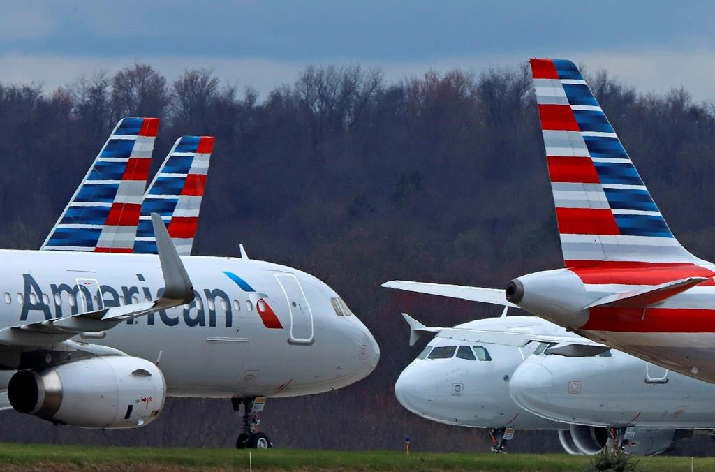 American Airlines planes are shown in this photo taken March 31, 2020.