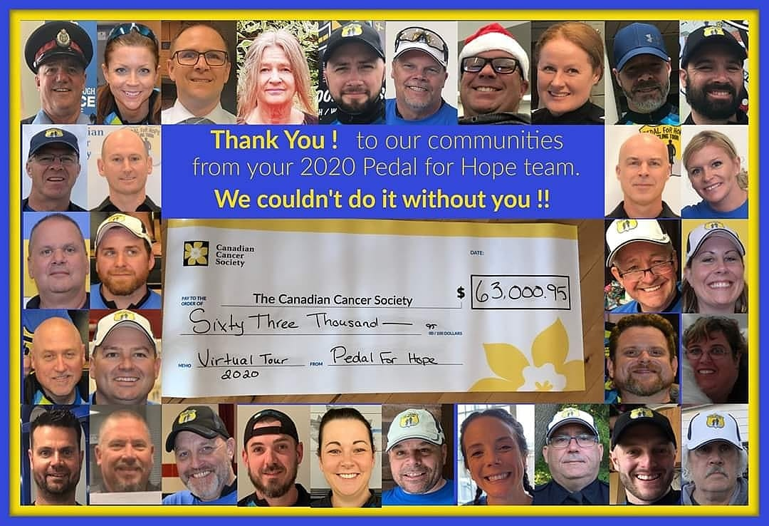 The 2020 Virtual Pedal For Hope Tour raised $63,000.95 for pediatric cancer research.
