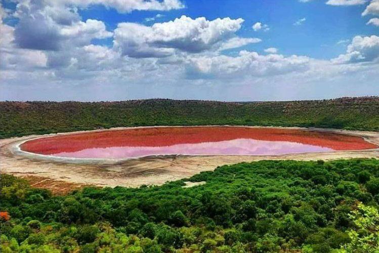 Lonar Lake is shown in Buldhana, Maharashtra, India in June 2020 after turning pink.
