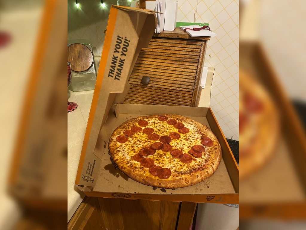 A pizza with pepperonis arranged in the shape of the swastika is seen, in Middleburg Heights, Ohio, U.S., June 27, 2020.