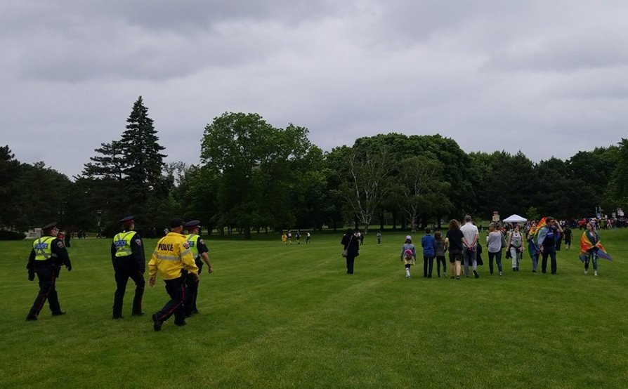 Hamilton Police say they 'escorted' two groups out of Gage Park after a disturbance related to 2019 Pride Hamilton festivities.