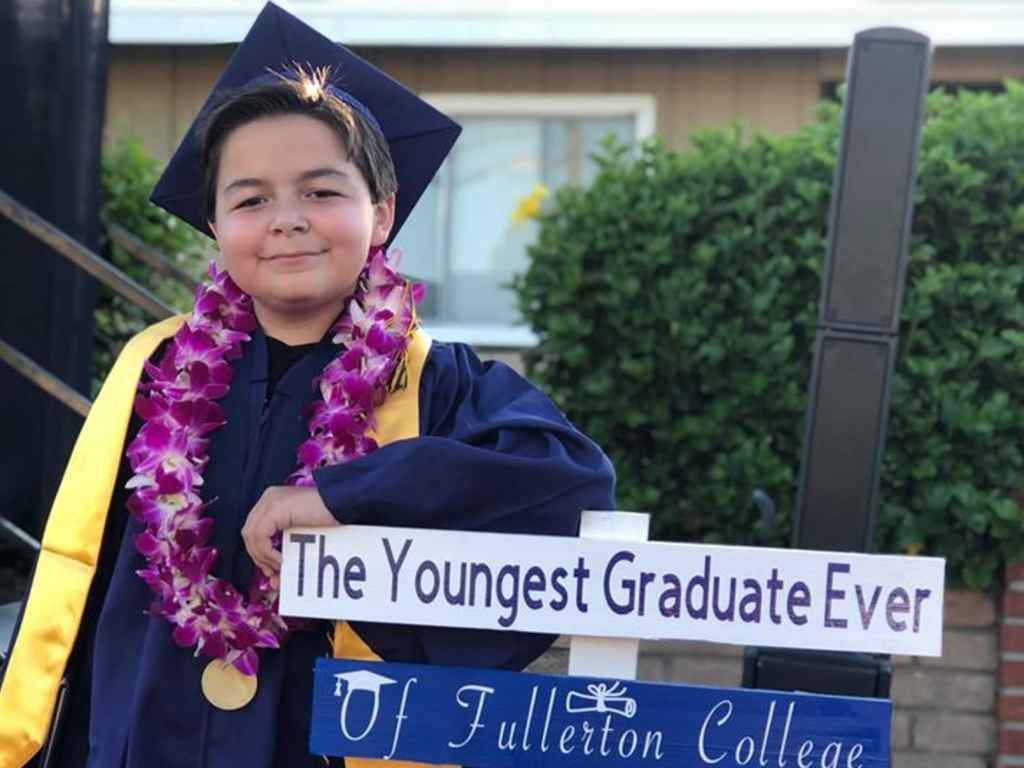Jack Rico, 13, graduated from Fullerton College in California last weekend with four associate's degrees completed in just two years.