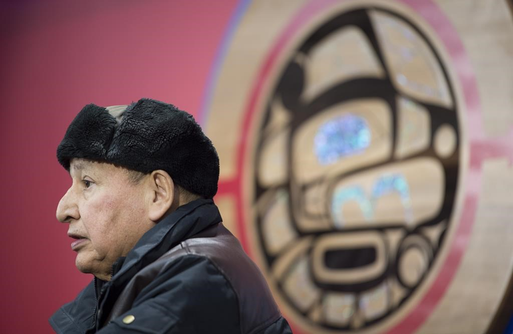 Grand Chief Stewart Phillip, President, Union of the B.C. Indian Chiefs addresses a news conference in Vancouver, B.C., Jan. 15, 2020.