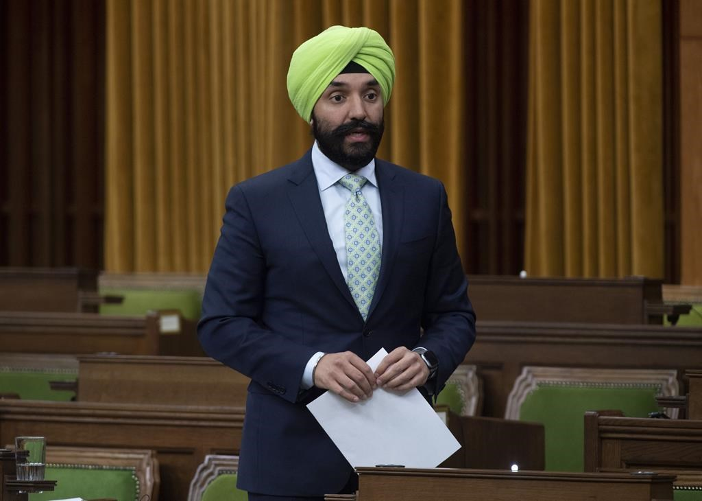 Innovation, Science and Industry Minister Navdeep Bains rises during a special committee on the COVID-19 pandemic in Ottawa, Wednesday May 20, 2020. The federal government is delaying its auction of a mid-range band of wireless spectrum that will be critical to the future of fifth-generation network services.THE CANADIAN PRESS/Adrian Wyld.