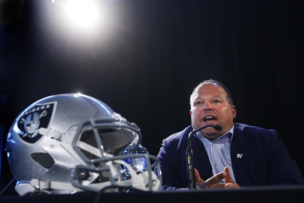 Wade Miller, President and CEO of the Winnipeg Blue Bombers, speaks to the media in Winnipeg on Wednesday, June 5, 2019. Miller came to defence of embattled CFL commissioner Randy Ambrosie on Thursday. Ambrosie has come under heavy criticism recently from CFL players, the CFL Players' Association and league football operations personnel. Last week, the union and a host of players took to social media to voice their displeasure with Ambrosie regarding the state of talks between the two sides on an abbreviated '20 season.