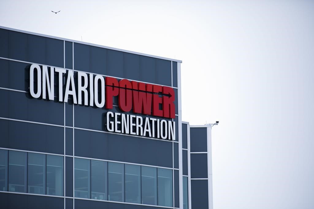 Ontario Power Generation signage is seen facility at the Darlington Power Complex, in Bowmanville, Ont., on May 31, 2019. Ontario's public generating company has pulled the plug on its plan to bury hazardous radioactive waste near the Lake Huron shoreline.THE CANADIAN PRESS/Cole Burston.