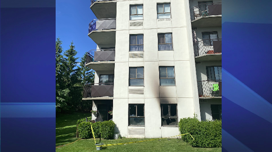 Broken windows and yellow caution tape seen in this photo taken by the London Fire Department. A fire occurred at an apartment building on Jalna Blvd. Saturday.
