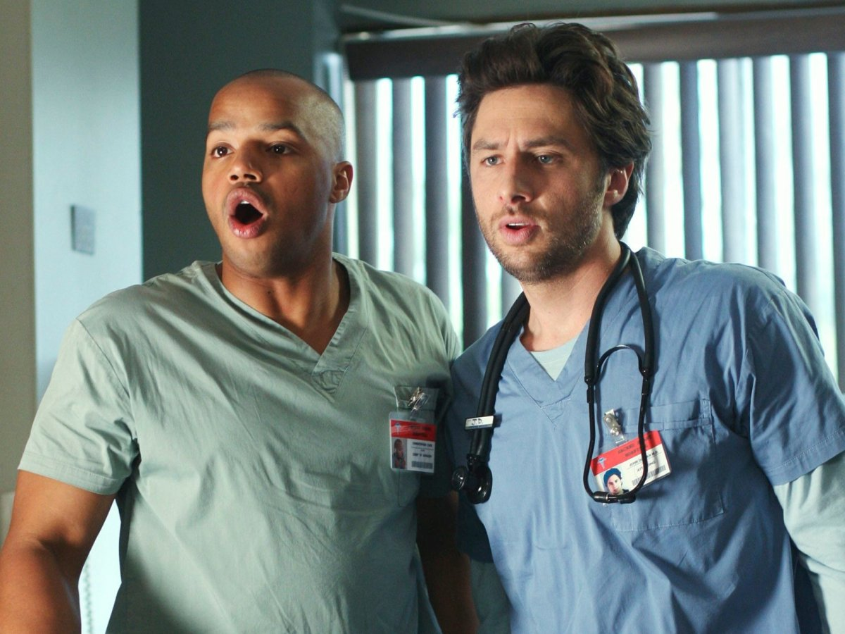 Donald Faison and Zach Braff in 'My Chief Concern' on 'Scrubs,' aired April 29, 2009.