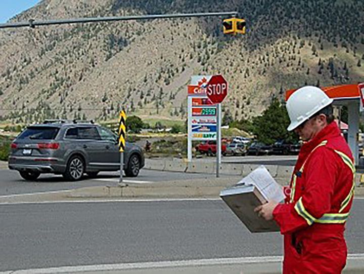 A photo showing a police officer in disguise during a traffic enforcement blitz in the South Okanagan. Police say the spotters will radio ahead to uniformed enforcement teams.