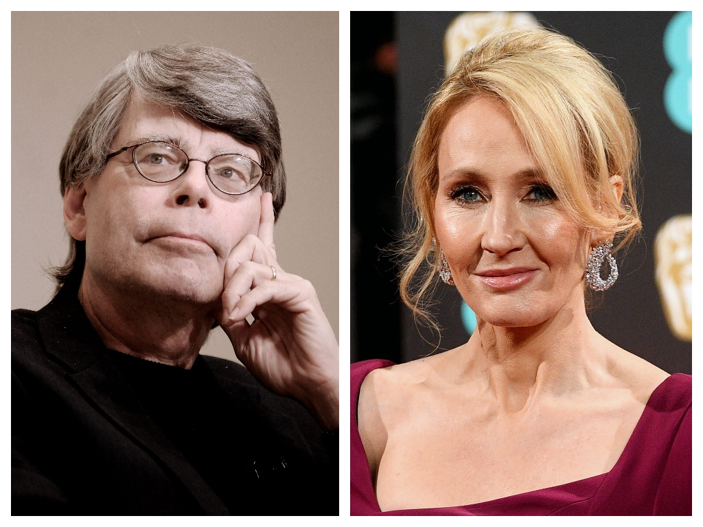 (L-R) Authors Stephen King and J.K. Rowling.