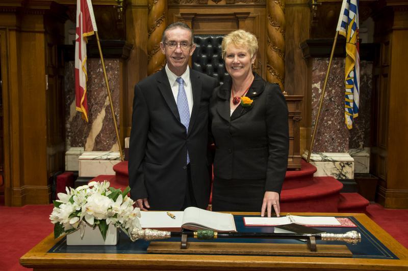 Ed and Katrine Conroy stand in the B.C. legislature.
