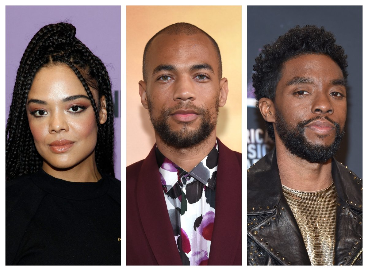 From left: Actors Tessa Thompson, Kendrick Sampson and Chadwick Boseman.