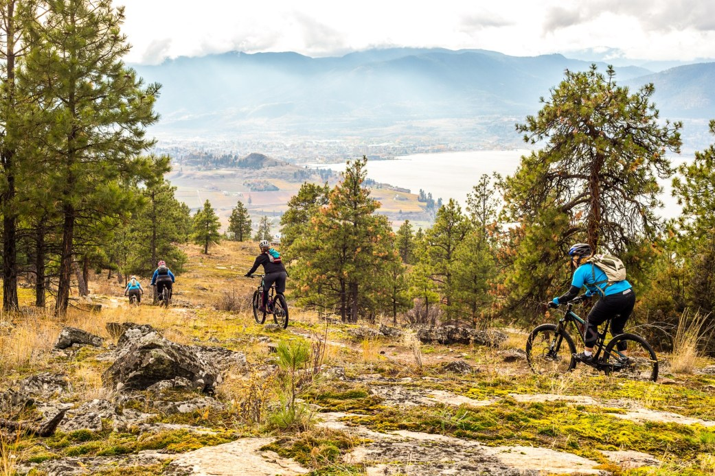 A man died while mountain biking on the Three Blind Mice trails in Penticton on Saturday.