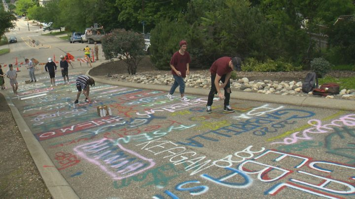 Around 176 students took part in the street art, on Wednesday.