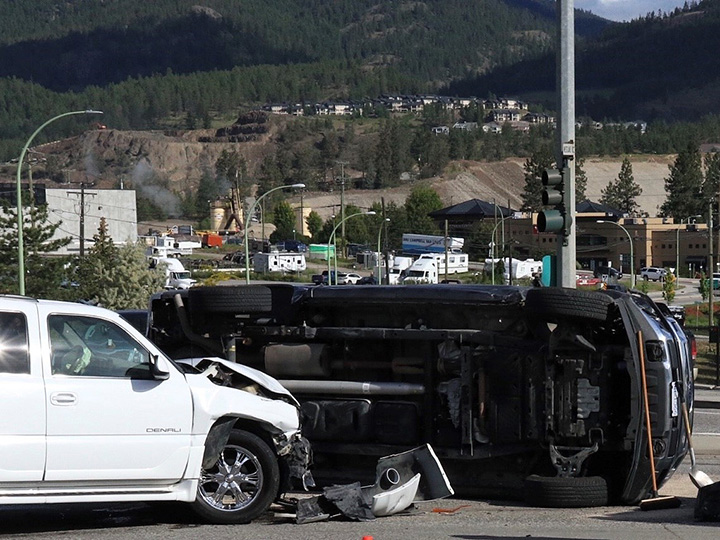 A two-vehicle accident resulting in a rollover happened at the intersection of Highway 97 and Westlake Road and Hudson Road just after 8 a.m., in West Kelowna on Tuesday morning.