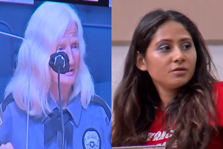 This composite image shows Sylvia Ball, left, and Christina Gomez speaking out against a mandatory mask law at the Palm Beach Coutny Board of County Commissioners on Tuesday, June 23, 2020.