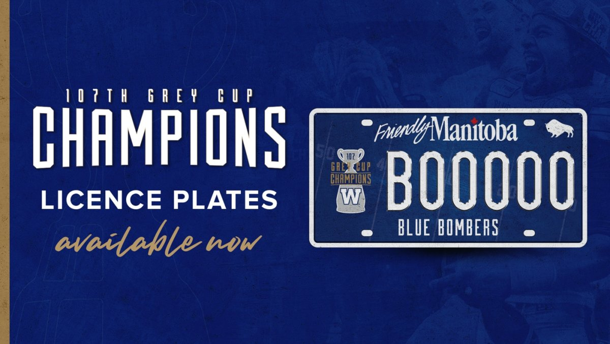 Winnipeg Blue Bomber licence plates celebrating the team's 2019 Grey Cup win are on sale starting Monday.