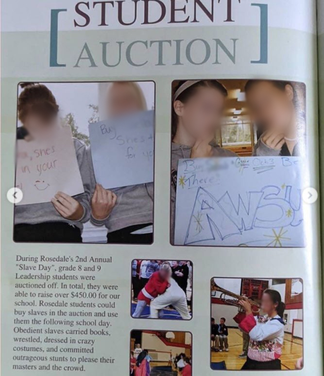"""A photo of a page in a yearbook from Rosedale Middle School in Chilliwack, B.C., about the """"student auction"""" or """"slave day"""" event."""