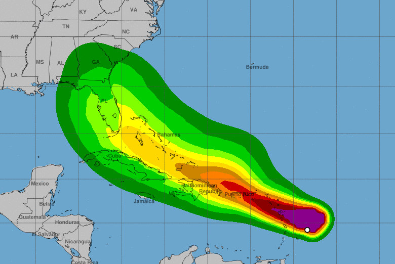 The projected wind strength of the potential tropical storm along its projected path from the Atlantic Ocean through Puerto Rico to Florida, seen on July 28, 2020.