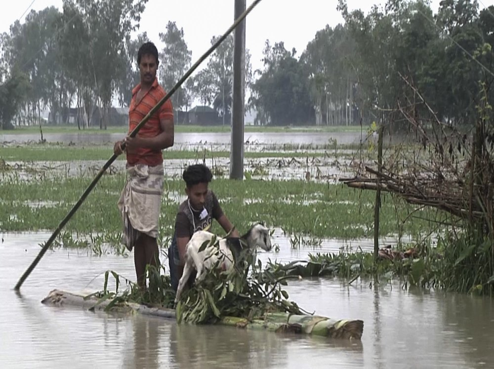 In this video grab taken from the Associated Press Television footage Bangladeshi men with a goat row a banana raft through flood waters in Lalmonirhat, Bangladesh, Monday, July 13, 2020. Heavy flooding is worsening in parts of Bangladesh, with over 1 million villagers marooned or leaving their homes for higher ground along with their cattle and other belongings, officials and volunteers said Tuesday.