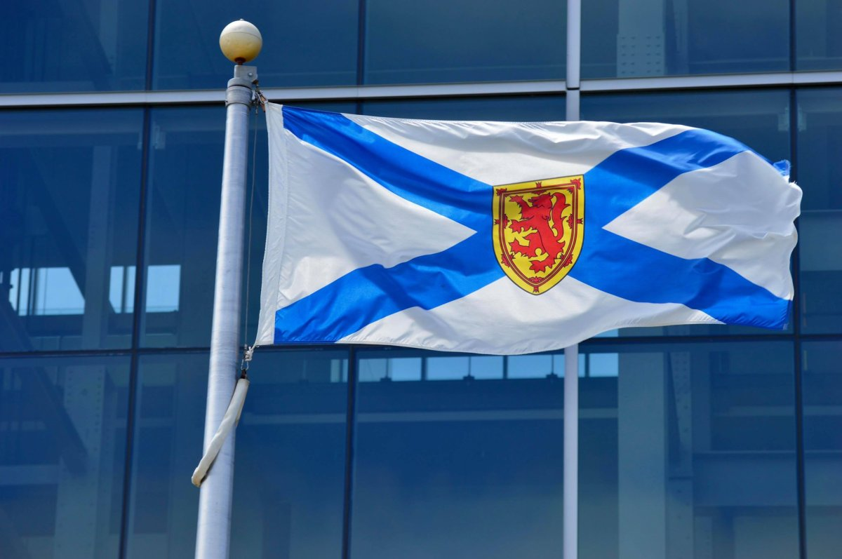 A Nova Scotia flag on the Halifax waterfront on July 6, 2020.
