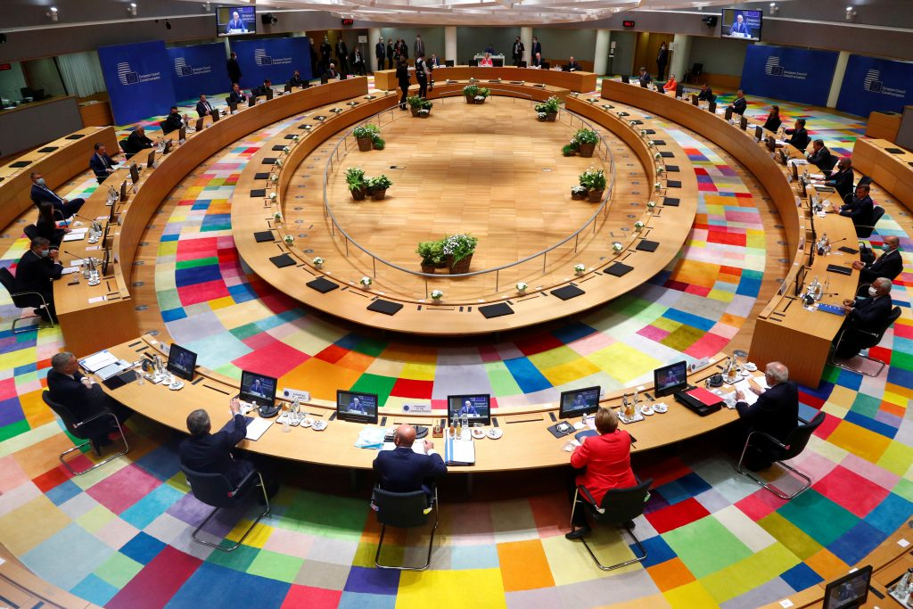 European Union leaders take part in the first face-to-face EU summit since the coronavirus disease (COVID-19) outbreak, in Brussels, Belgium July 17, 2020.