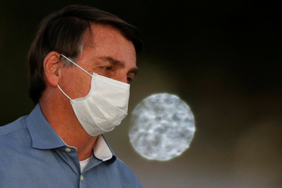 Brazil's President Jair Bolsonaro looks on during a ceremony of lowering the national flag for the night, amid the coronavirus disease (COVID-19) outbreak, at the Alvorada Palace in Brasilia, Brazil, July 24, 2020.