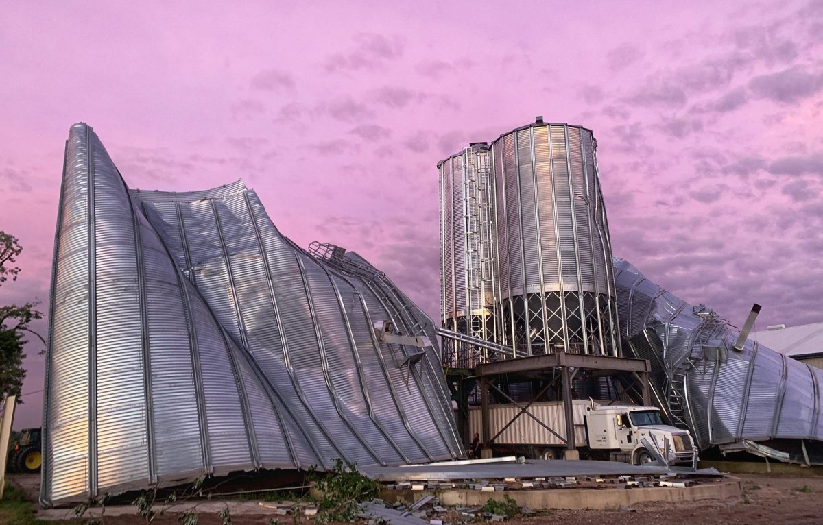 Severe damage to an agricultural property south of Exeter, Ont., July 19, 2020.