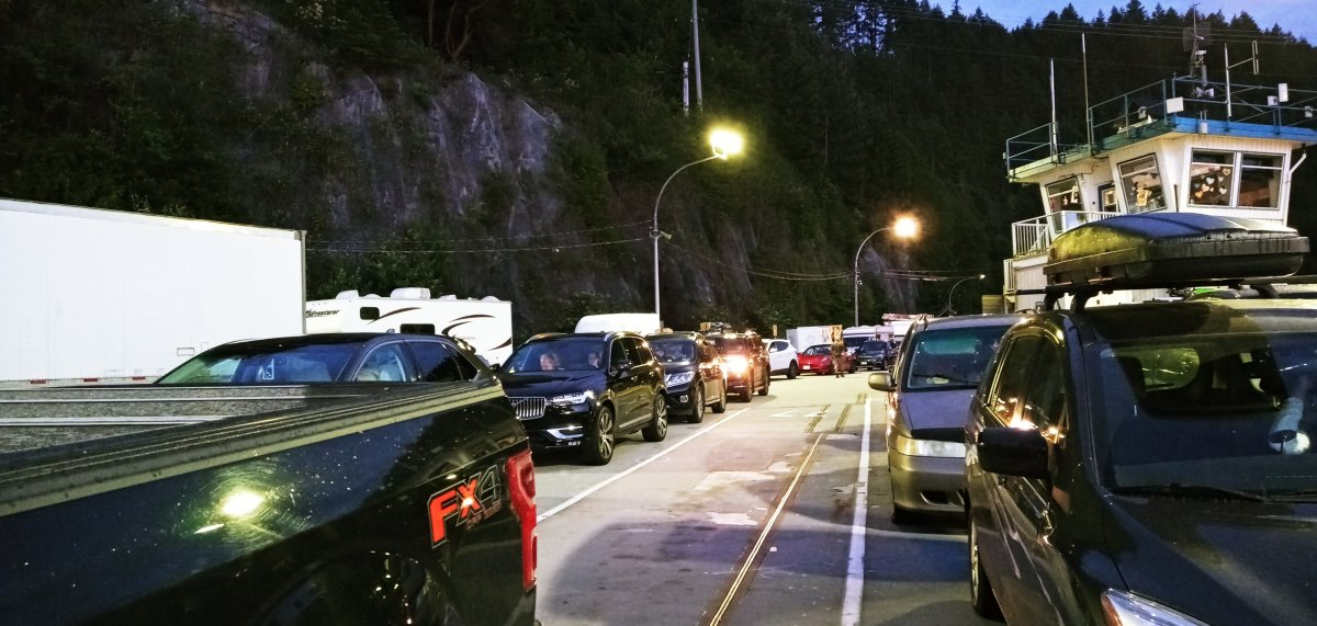 Jacquie and Mark Steele says they were placed in a line-up at the Horseshoe Bay ferry terminal that didn't move for six hours.