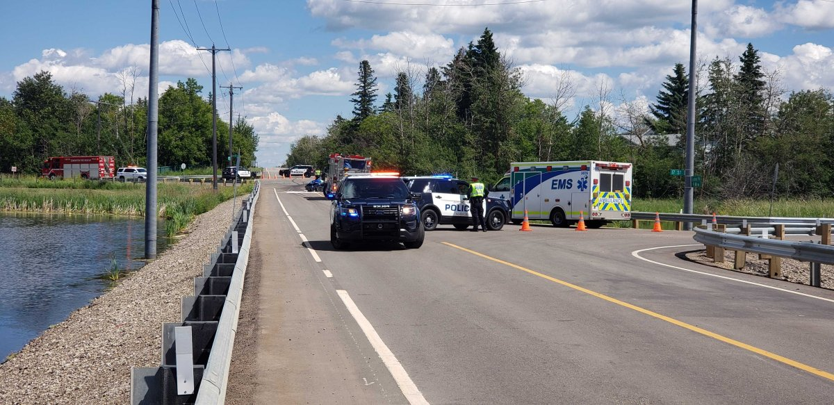 One person suffered life-threatening injuries in a collision at Ellerslie Road and 17 Street in Edmonton Friday, July 10, 2020.