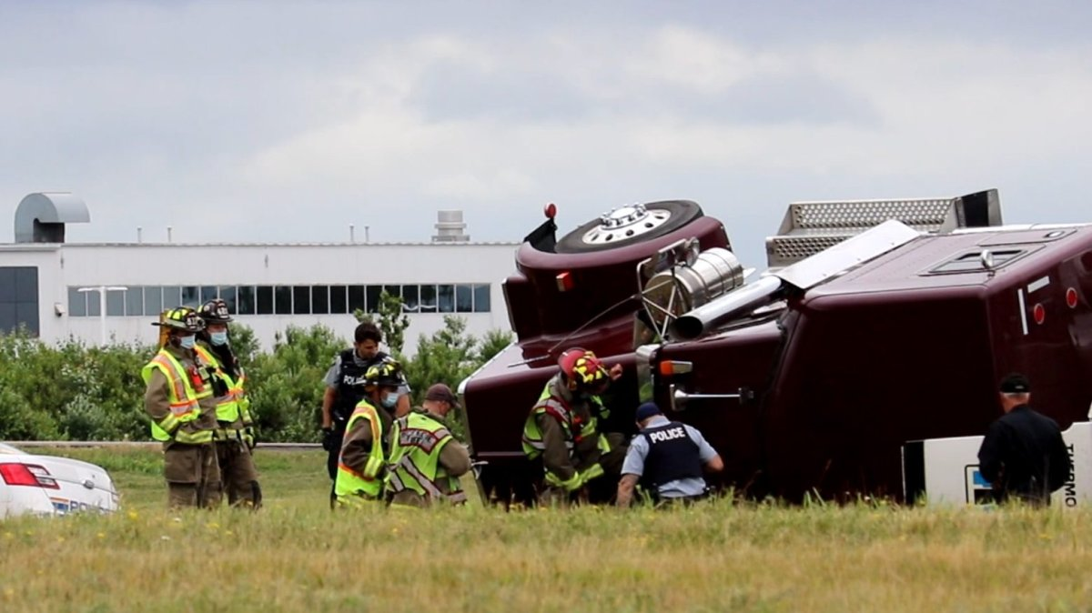 Codiac RCMP responded to a single vehicle accident near the Moncton airport, involving a transport truck that had flipped on its side.