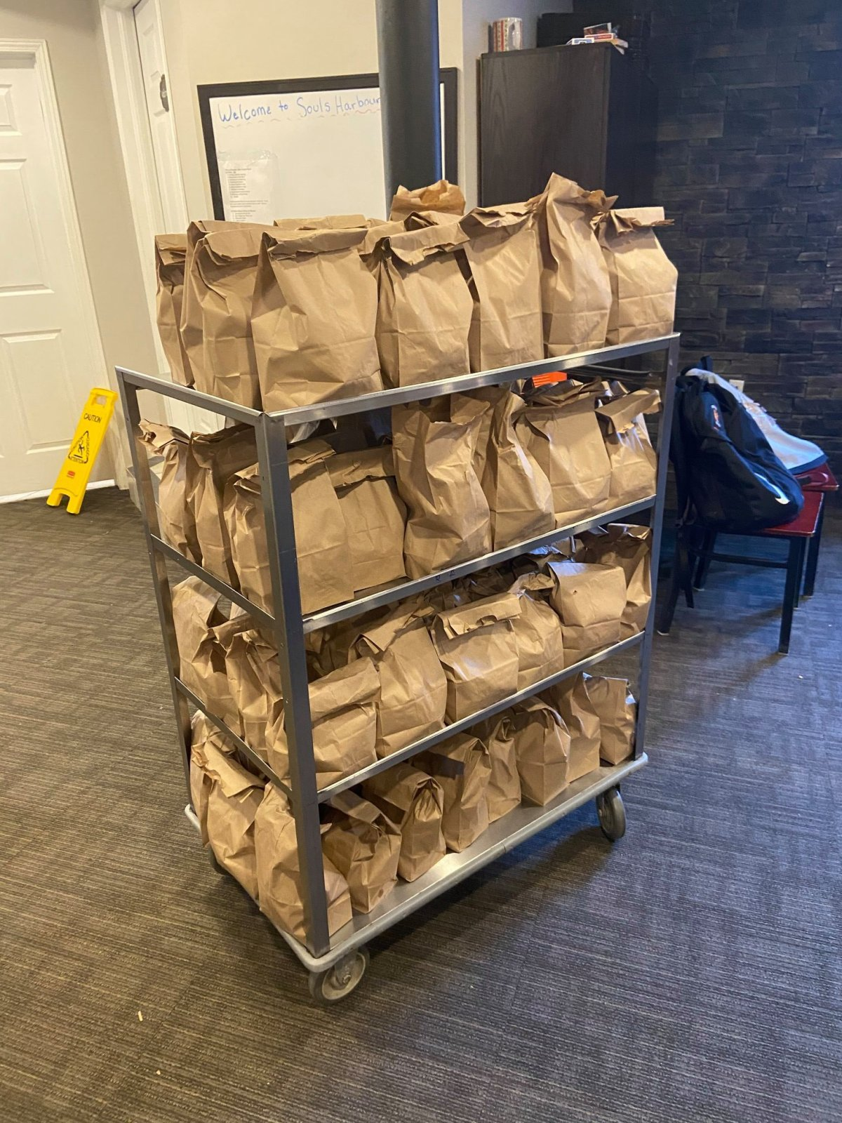 Meals are getting prepared and distributed by Souls Harbour Rescue Mission.