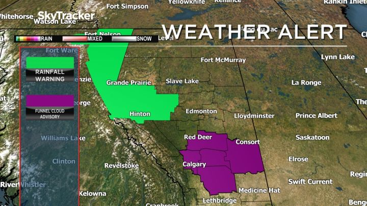 A low-pressure system bringing widespread precipitation to parts of Alberta has triggered a number of flood watches and rainfall warnings in central and northern parts of the province.