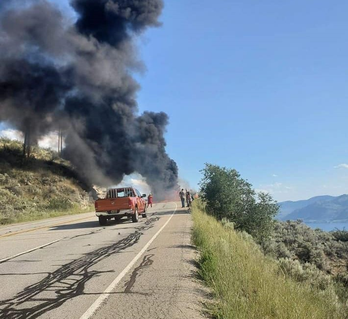 The truck fire caused heavy, black smoke to billow into the air and was visible from all of Osoyoos, B.C.