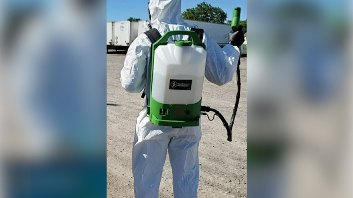 An electrostatic backpack sprayer, shown off on a social media post by a Hamilton restaurant, can be effective in the fight against the spread of COVID-19, says cleaning experts.