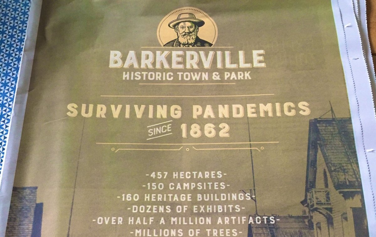 Barkerville has apologized for this ad, which it said inadvertently made light of a smallpox epidemic that devastated the Indigenous people of B.C.'s interior.